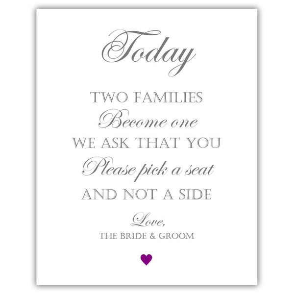 "Two families become one sign - 5x7"" / Purple - Dazzling Daisies"