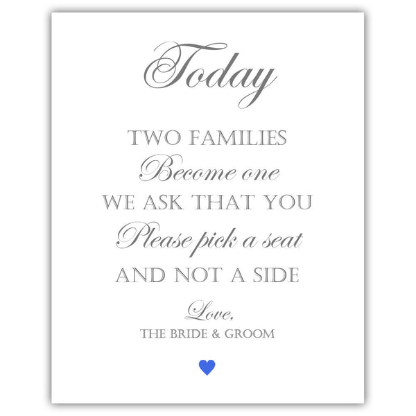 "Two families become one sign - 5x7"" / Royal blue - Dazzling Daisies"