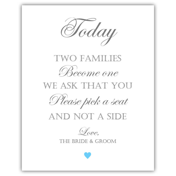 "Two families become one sign - 5x7"" / Sky blue - Dazzling Daisies"