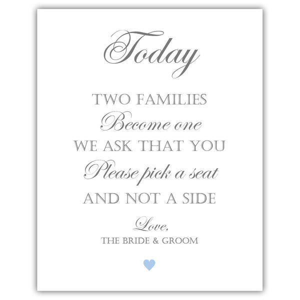 "Two families become one sign - 5x7"" / Steel blue - Dazzling Daisies"