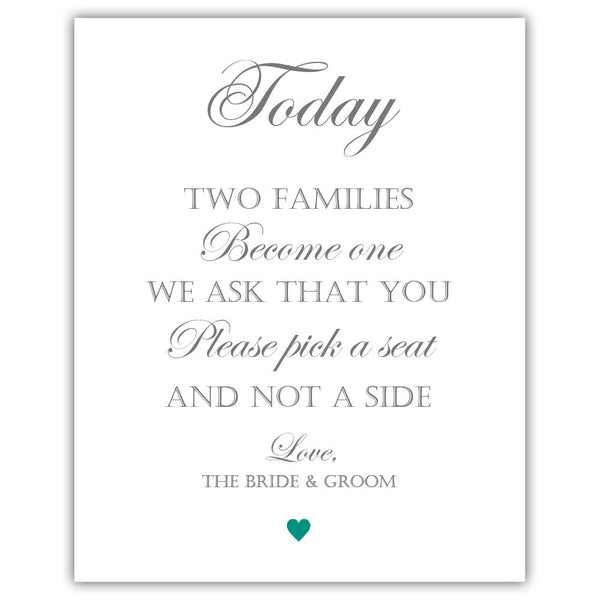 "Two families become one sign - 5x7"" / Teal - Dazzling Daisies"