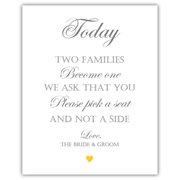 "Two families become one sign - 5x7"" / Yellow - Dazzling Daisies"