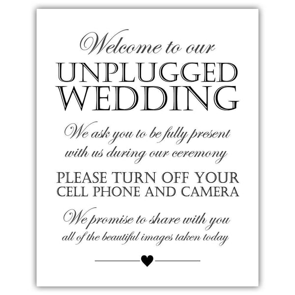 Unplugged wedding sign - Black - Dazzling Daisies