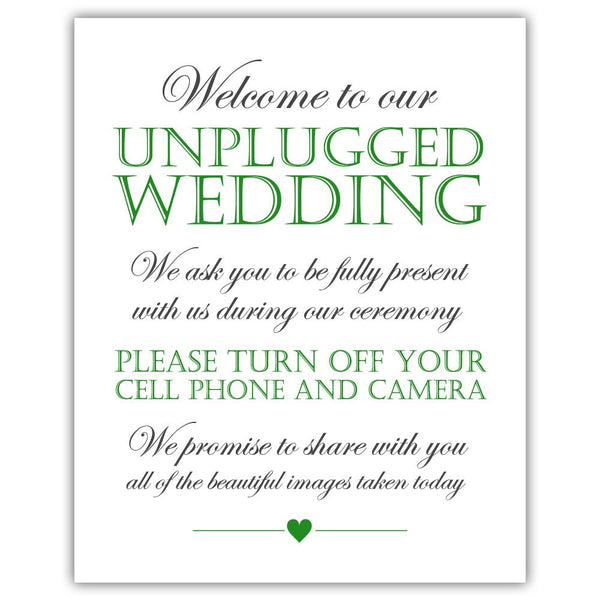 Unplugged wedding sign - Green - Dazzling Daisies