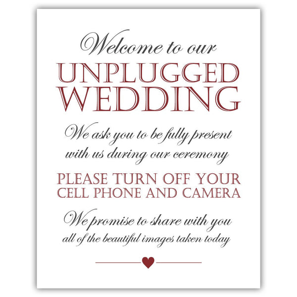Unplugged wedding sign - Maroon - Dazzling Daisies