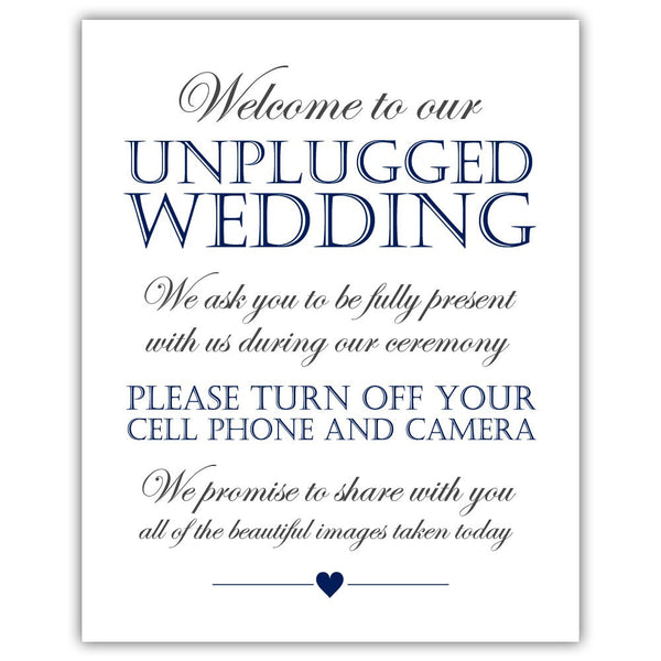 Unplugged wedding sign - Navy - Dazzling Daisies