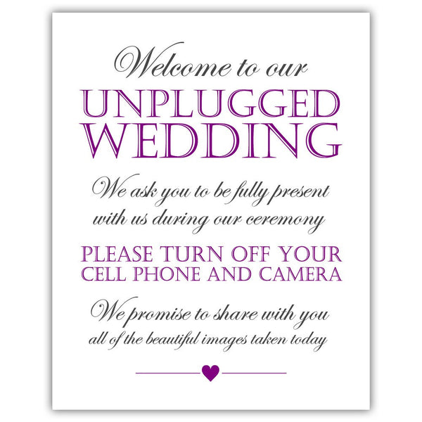 Unplugged wedding sign - Purple - Dazzling Daisies