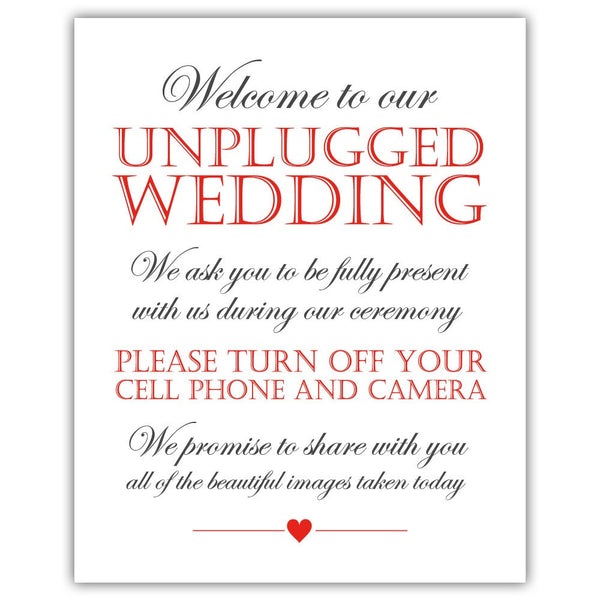 Unplugged wedding sign - Red - Dazzling Daisies