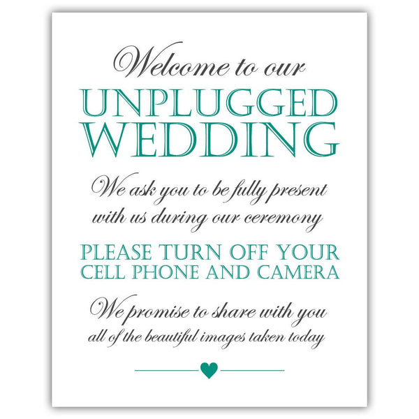 Unplugged wedding sign - Teal - Dazzling Daisies