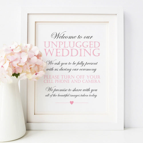 Unplugged wedding sign -  - Dazzling Daisies
