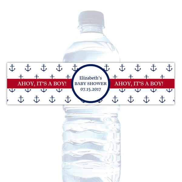 Baby shower water bottle labels 'Ahoy it's a boy' -  - Dazzling Daisies