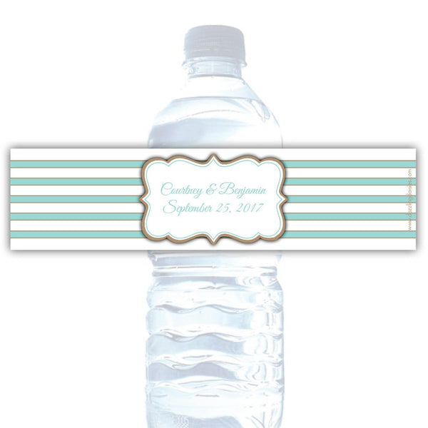 Water bottle labels 'Bold Lines' - Sand/Aquamarine - Dazzling Daisies