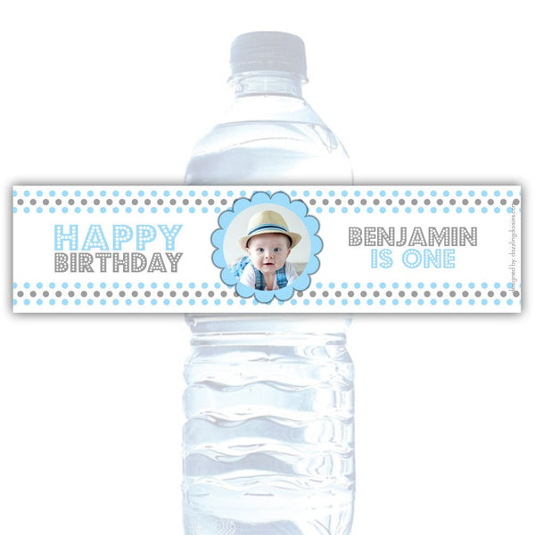 Birthday water bottle labels 'Polka Prettiness' - Gray/Sky blue - Dazzling Daisies