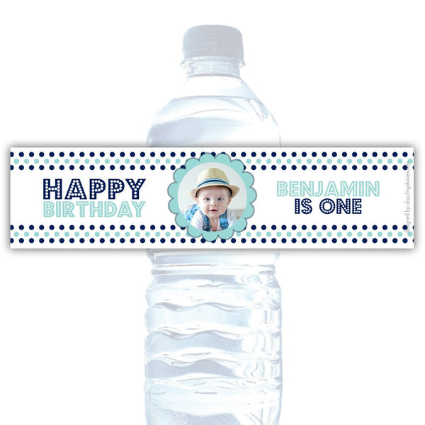Birthday water bottle labels 'Polka Prettiness' - Navy/Aquamarine - Dazzling Daisies