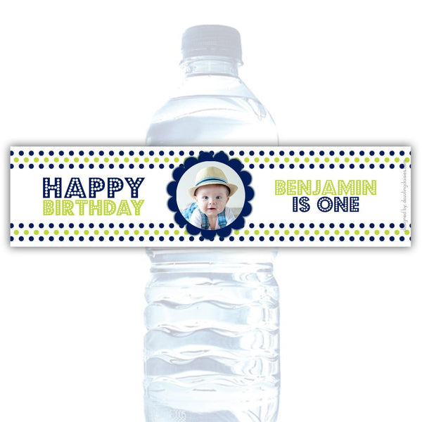 Birthday water bottle labels 'Polka Prettiness' - Navy/Lime - Dazzling Daisies