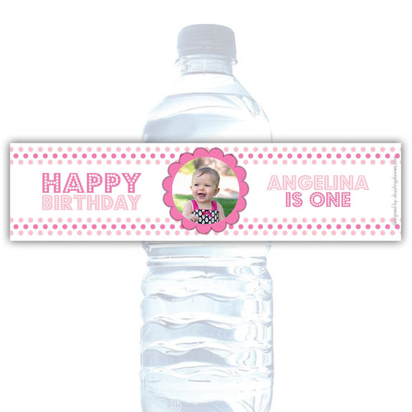 Birthday water bottle labels 'Polka Prettiness' - Pink - Dazzling Daisies