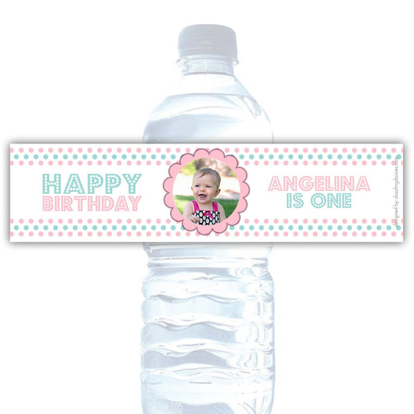Birthday water bottle labels 'Polka Prettiness' - Pink/Aquamarine - Dazzling Daisies