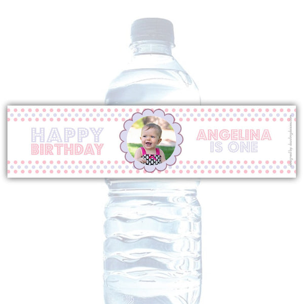 Birthday water bottle labels 'Polka Prettiness' - Pink/Lavender - Dazzling Daisies