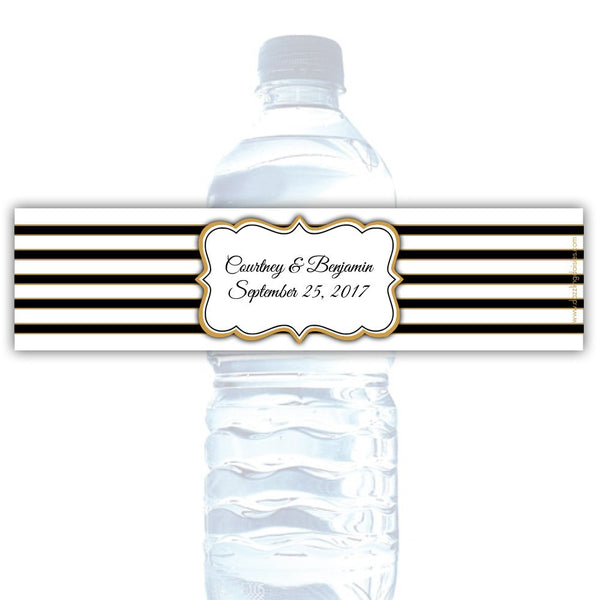 Water bottle labels 'Bold Lines' - Black/Gold - Dazzling Daisies