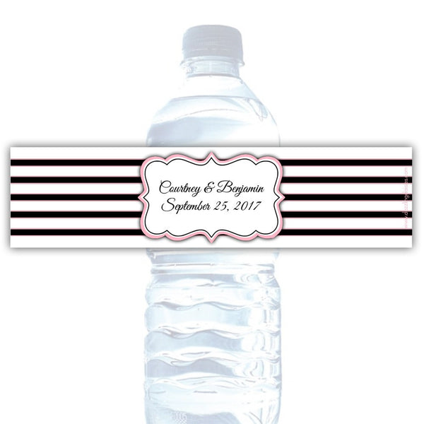 Water bottle labels 'Bold Lines' - Black/Pink - Dazzling Daisies