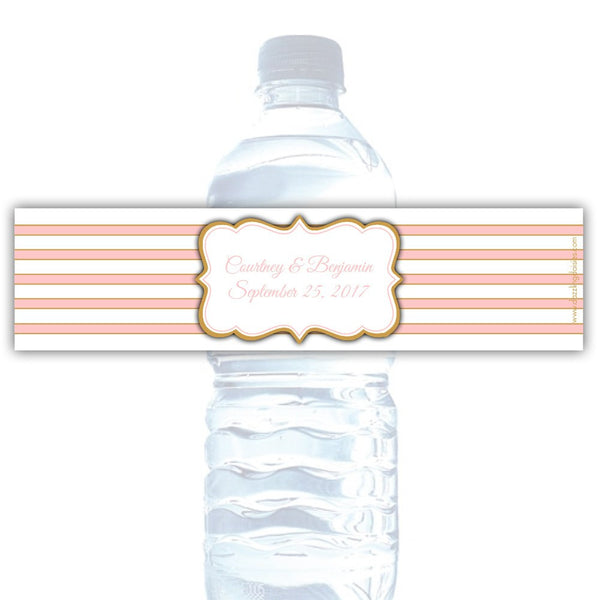 Water bottle labels 'Bold Lines' - Gold/Blush - Dazzling Daisies