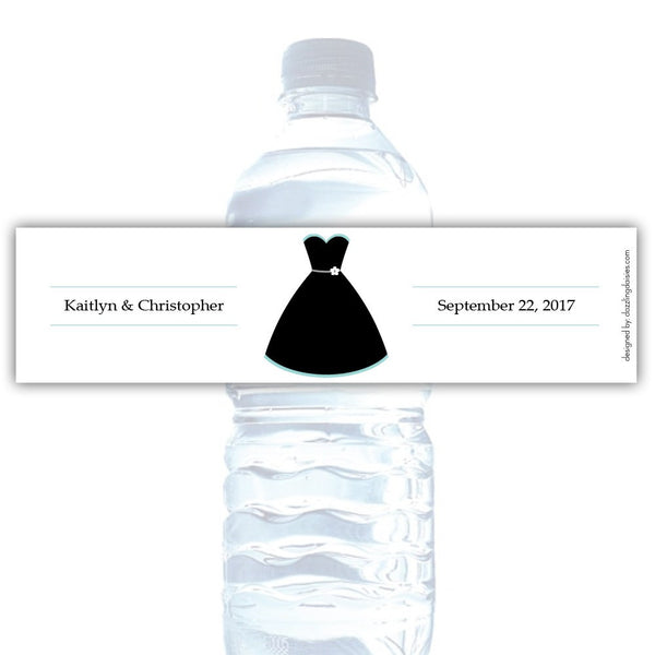 Water bottle labels 'Formal Attire' - Bride only / Aquamarine - Dazzling Daisies