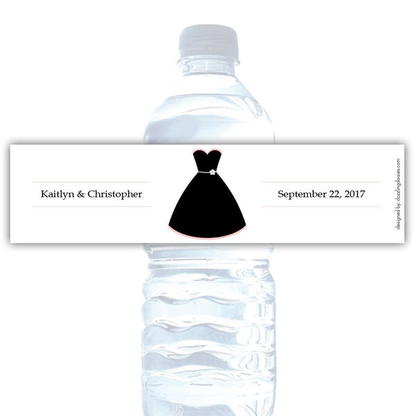 Water bottle labels 'Formal Attire' - Bride only / Blush - Dazzling Daisies
