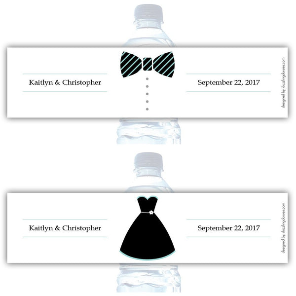 Water bottle labels 'Formal Attire' - Bride/Groom / Aquamarine - Dazzling Daisies