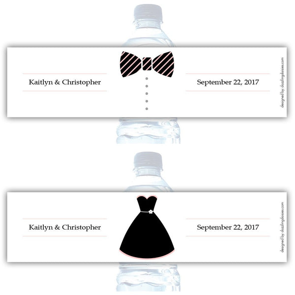 Water bottle labels 'Formal Attire' - Bride/Groom / Blush - Dazzling Daisies