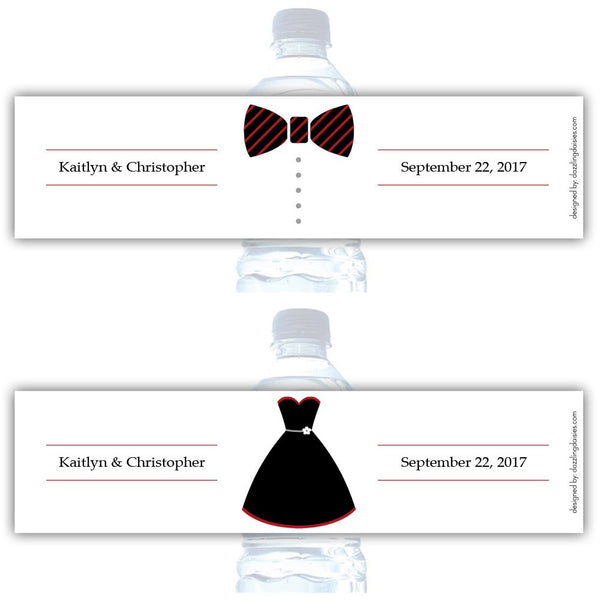 Water bottle labels 'Formal Attire' - Bride/Groom / Indian red - Dazzling Daisies