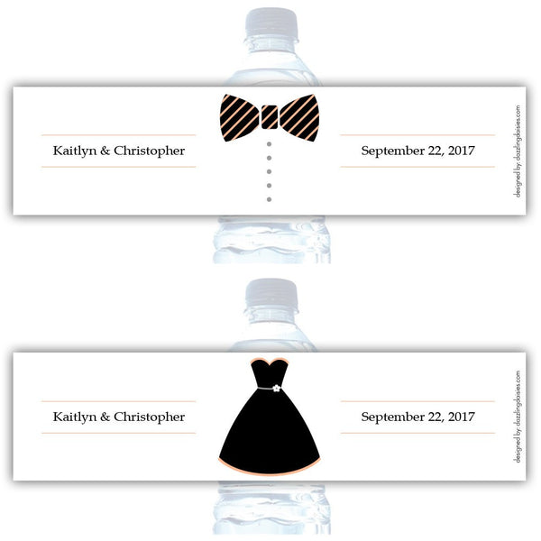 Water bottle labels 'Formal Attire' - Bride/Groom / Peach - Dazzling Daisies