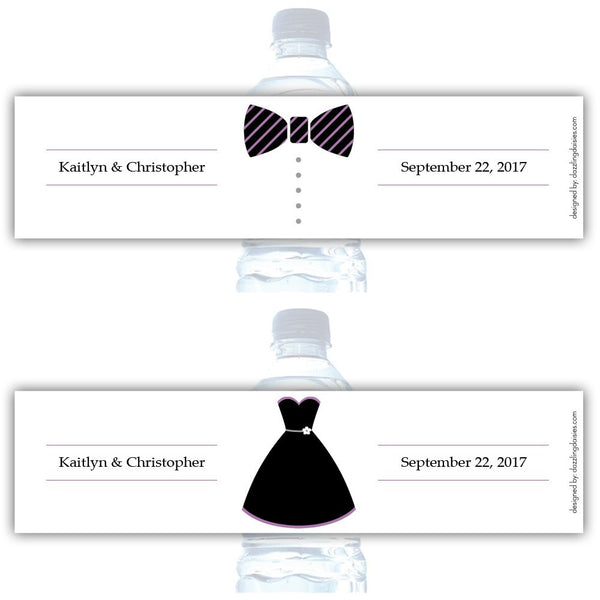 Water bottle labels 'Formal Attire' - Bride/Groom / Plum - Dazzling Daisies