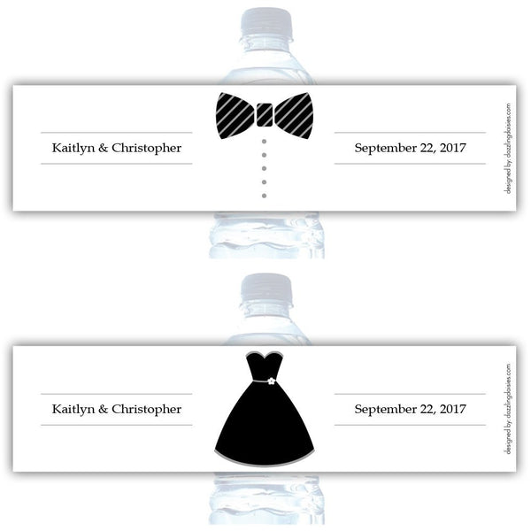 Water bottle labels 'Formal Attire' - Bride/Groom / Silver - Dazzling Daisies