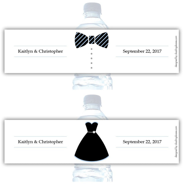 Water bottle labels 'Formal Attire' - Bride/Groom / Steel blue - Dazzling Daisies