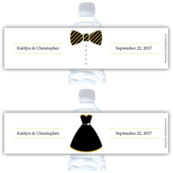 Water bottle labels 'Formal Attire' - Bride/Groom / Yellow - Dazzling Daisies