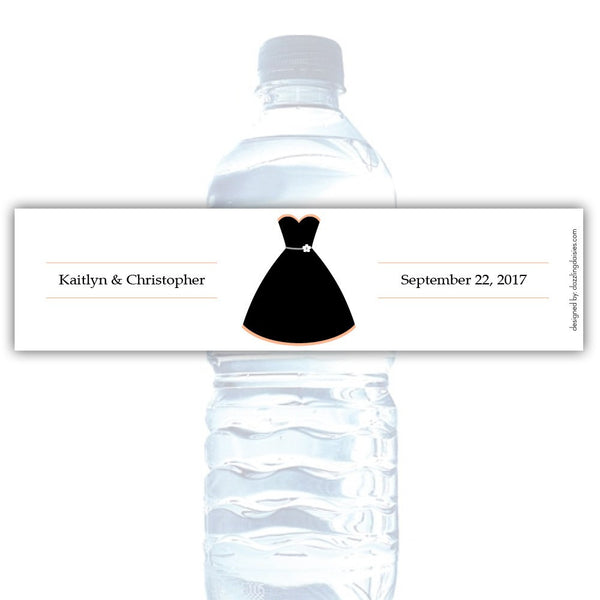 Water bottle labels 'Formal Attire' - Bride only / Peach - Dazzling Daisies
