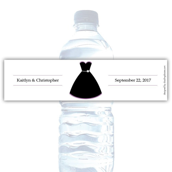 Water bottle labels 'Formal Attire' - Bride only / Plum - Dazzling Daisies
