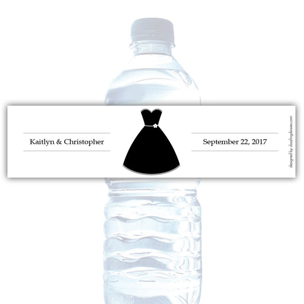 Water bottle labels 'Formal Attire' - Bride only / Silver - Dazzling Daisies