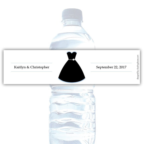 Water bottle labels 'Formal Attire' - Bride only / Steel blue - Dazzling Daisies