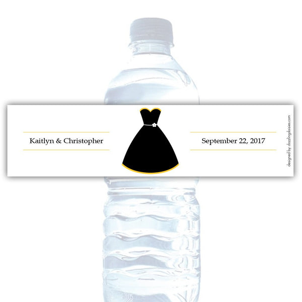 Water bottle labels 'Formal Attire' - Bride only / Yellow - Dazzling Daisies