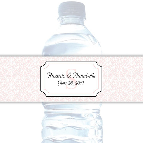 Water bottle labels 'Damask Deluxe' - Blush - Dazzling Daisies