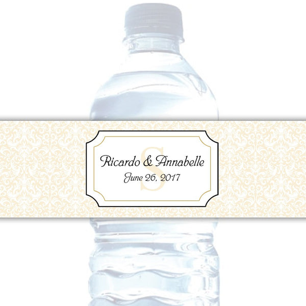 Water bottle labels 'Damask Deluxe' - Gold - Dazzling Daisies
