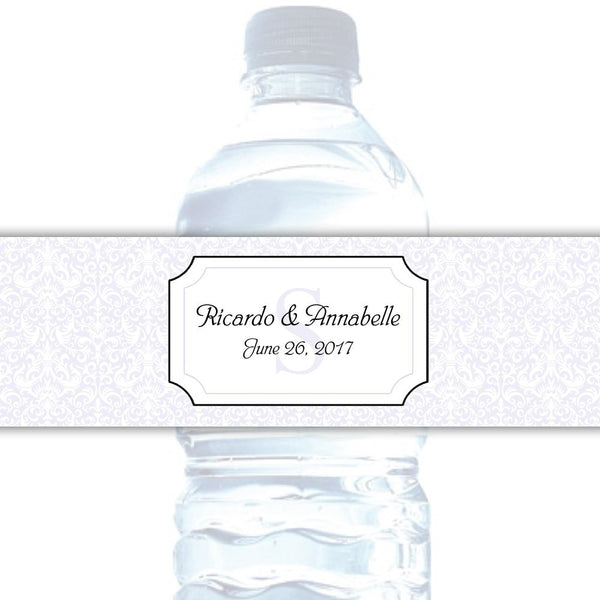 Water bottle labels 'Damask Deluxe' - Lavender - Dazzling Daisies