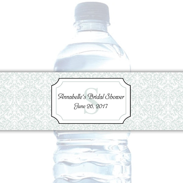 Water bottle labels 'Damask Deluxe' - Sage - Dazzling Daisies
