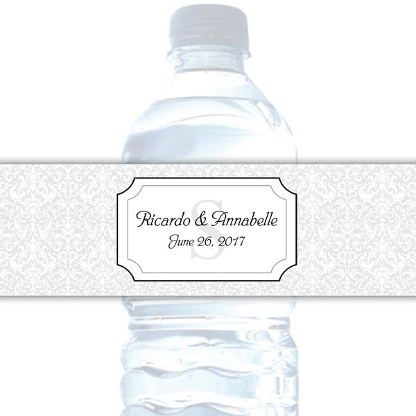 Water bottle labels 'Damask Deluxe' - Silver - Dazzling Daisies