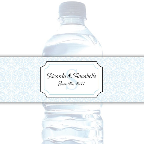 Water bottle labels 'Damask Deluxe' - Sky blue - Dazzling Daisies