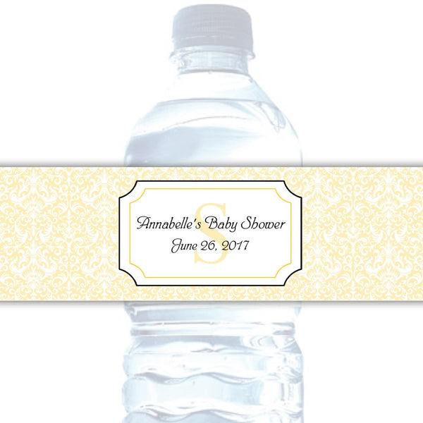 Water bottle labels 'Damask Deluxe' - Yellow - Dazzling Daisies