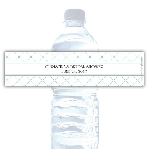 Water bottle labels 'Dazzling Diamonds' - Aquamarine - Dazzling Daisies