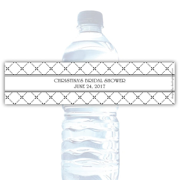 Water bottle labels 'Dazzling Diamonds' - Black - Dazzling Daisies
