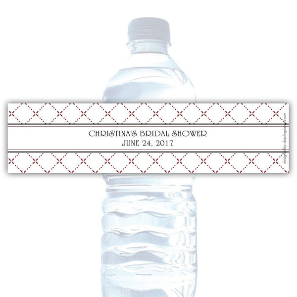 Water bottle labels 'Dazzling Diamonds' - Maroon - Dazzling Daisies
